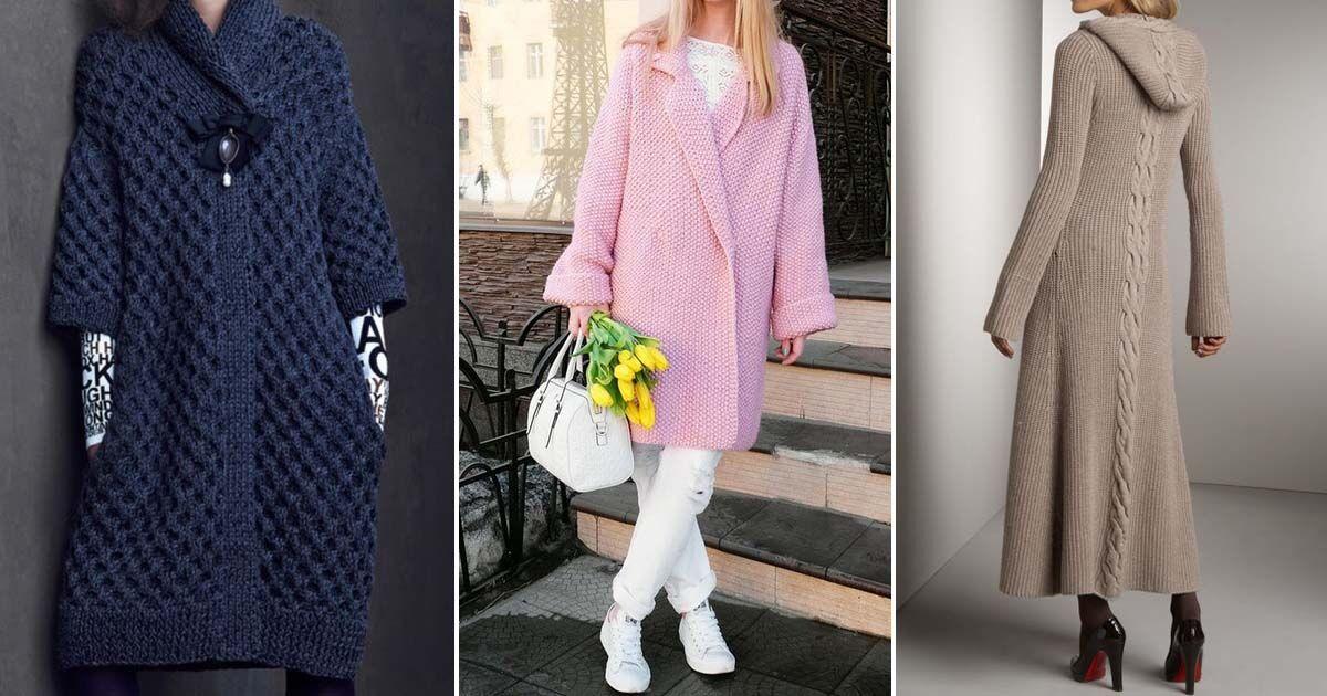 уютное вязаное пальто 2018 модные оригинальные фасоны для любой фигуры